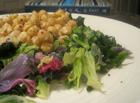 kale with chickpeas and tahini