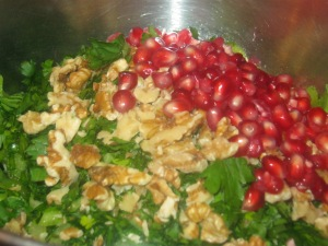wild rice, celery and pomegranate salad