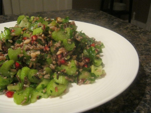 wild rice, celery and pomegranate
