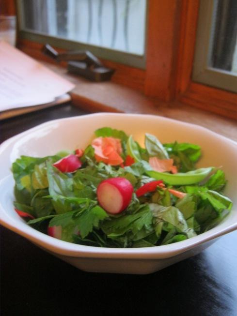 herb salad with nasturtium flowers