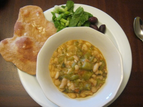 Hassan's celery and white bean soup with tomato and caraway