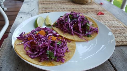 sweet potato and mushroom breakfast tacos
